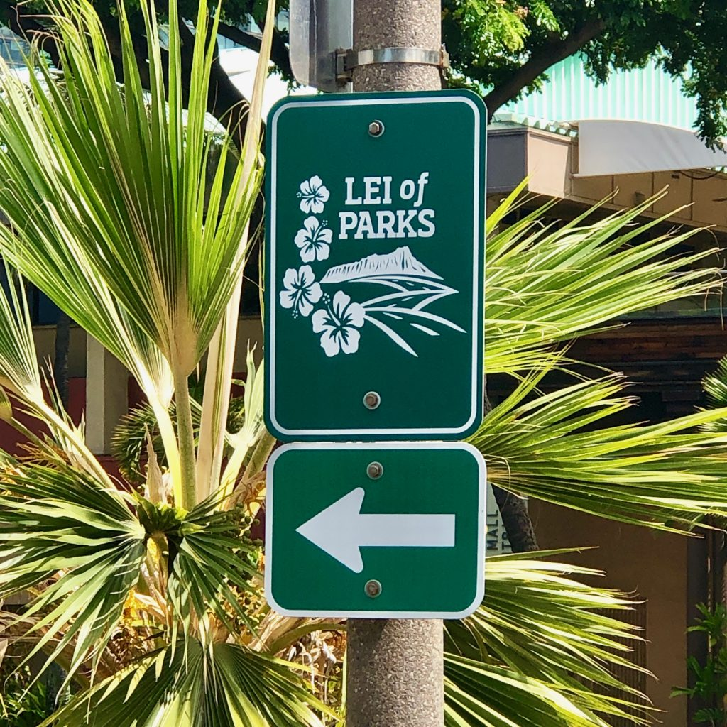 Look for the Lei of Parks sign along your ride.