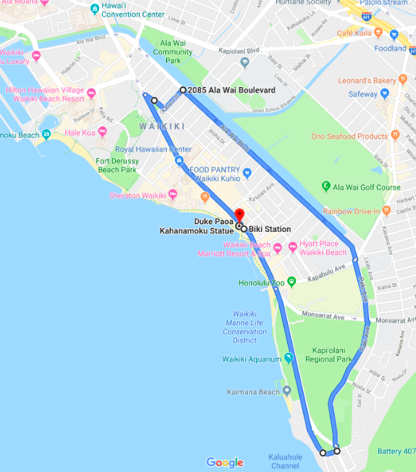 Click on the Map to Open the Route on Google Maps