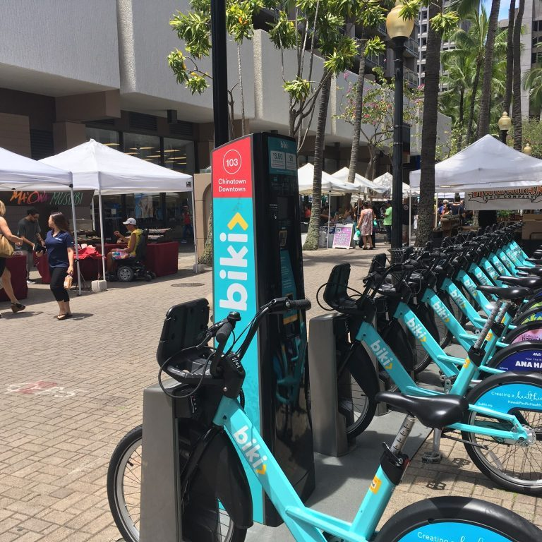 Biki Stop #103 is located by the Fort Street Open Market